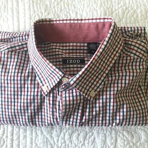 Izod Red and Blue Checked Button Down